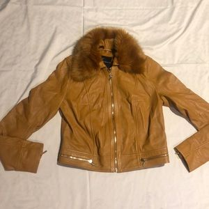 New Guess by Marciano Leather Jacket Fur Collar S